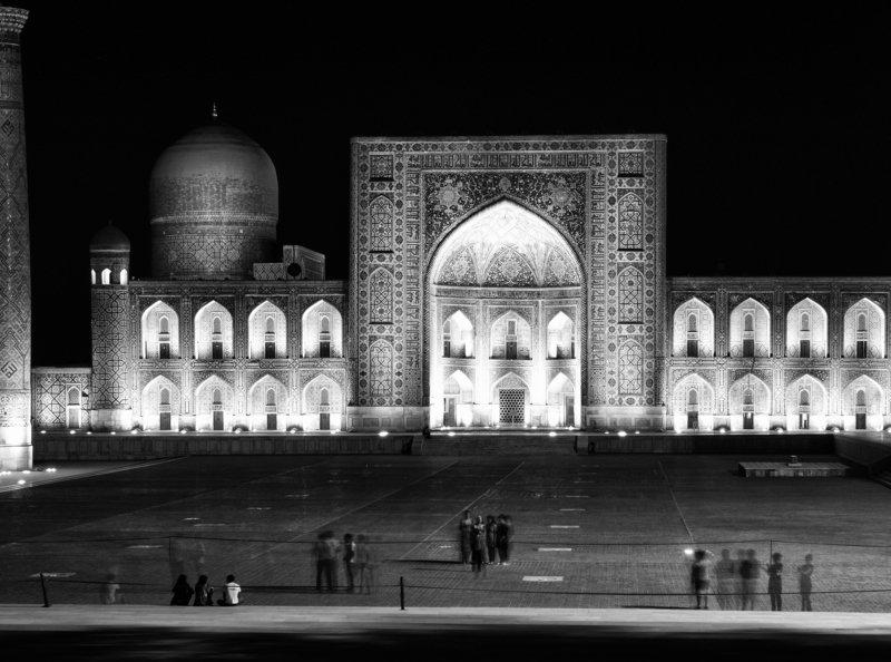 Black and white, City, Monochrome, Uzbekistan, Samarkand, Registan Registan at midnightphoto preview