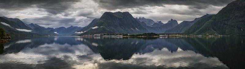 норвегия, фьорд, горы, отражение Nordlandphoto preview