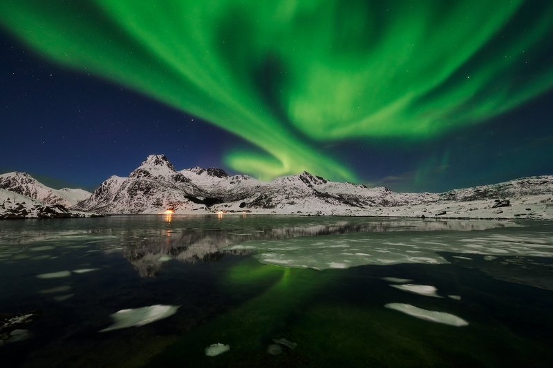 aurora borealis, lofoten , norway, snow, winter, mountain, sea Aurora borealis IIphoto preview