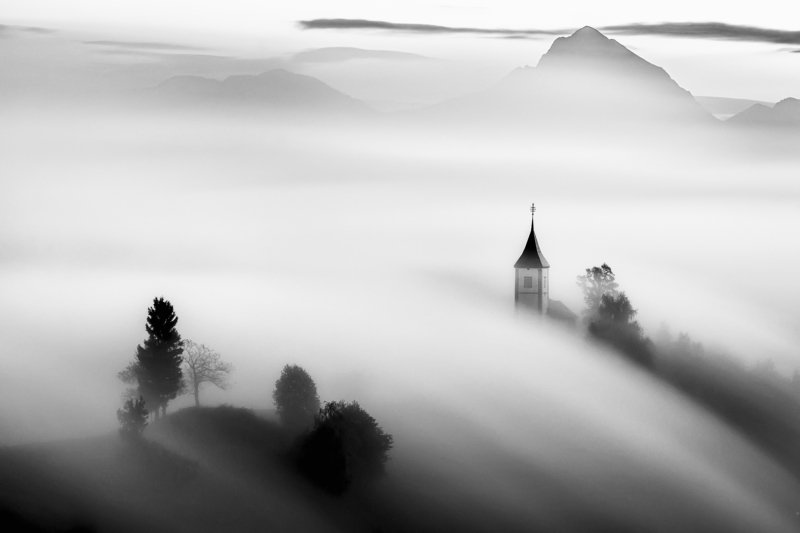 jamnik, lake, sunrise, morning, church, landscape,  slovenia Over the cloudsphoto preview