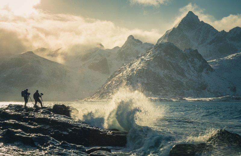 winter,lofoten,norway,norwegian,north,sea,wave,waves,mountains Raging weather of Northern Norwayphoto preview