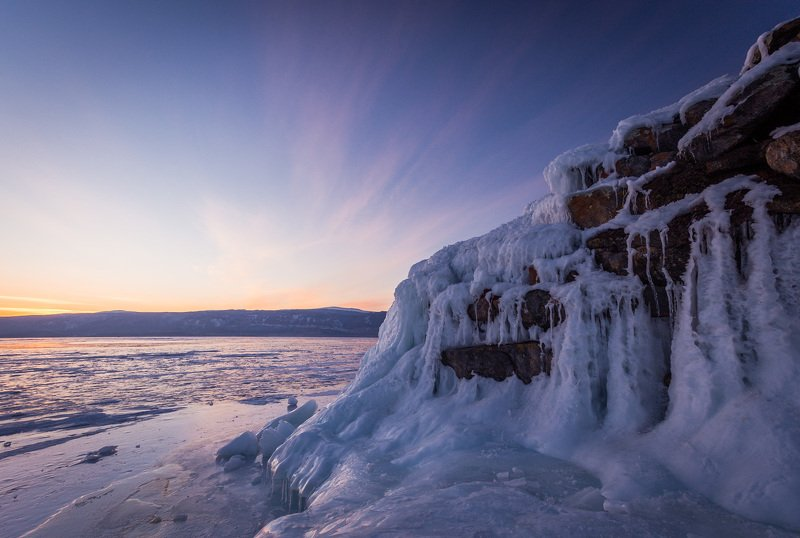 байкал, зима, лед, снег, путешествие, закат, солнце Закат над мысом Кобылья головаphoto preview