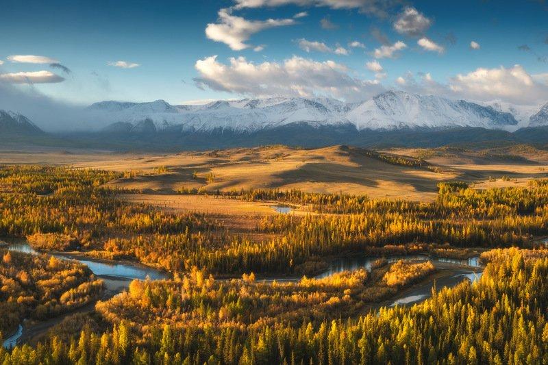россия, алтай, республика алтай, сибирь, осень, природа, пейзаж, горы, хребет, рассвет, курайская степь Чуйские изгибыphoto preview