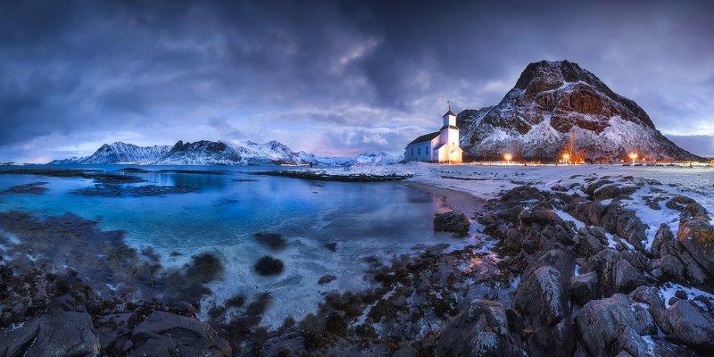 gimsoya, lofoten, gimsøy kirke, norway, seascape, church, mountains, mountain, ocean, blue,  blue hour, rocks, clouds, landscape Gimsøy Kirkephoto preview
