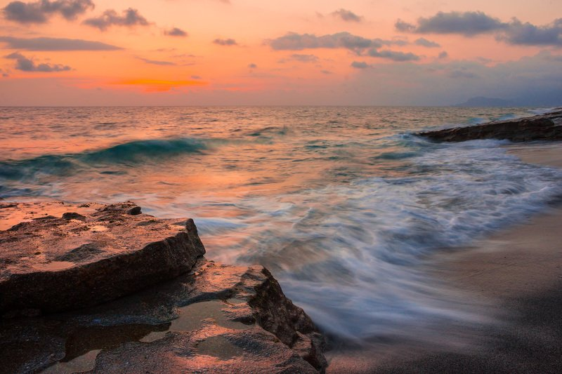 море, вечер, закат, волна Вечернее мореphoto preview