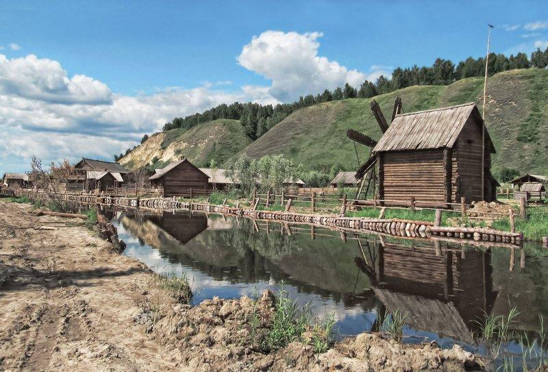 пейзаж, деревня, старина,избы, река, мельница, холмы, берег. Вот моя деревняphoto preview