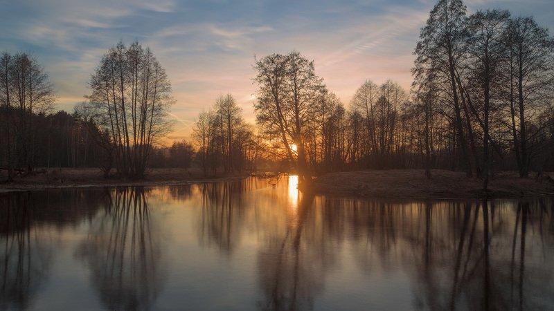 закат, март, весна, река Уша Краски мартовского закатаphoto preview