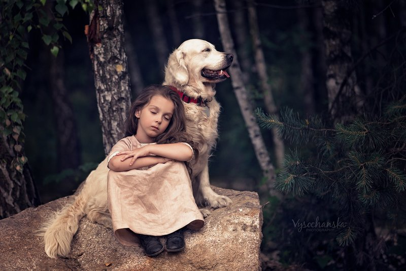 girl, portrait, friends, pet, animal, flower, dog Girl and her dogphoto preview