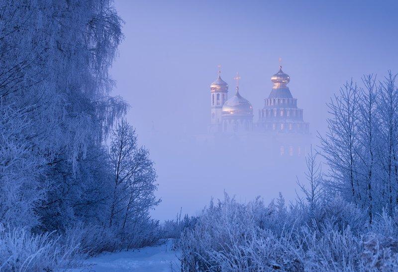 утро, рассвет, природа, туман, река, мороз, зима, пейзаж, истра Царство инея и туманаphoto preview