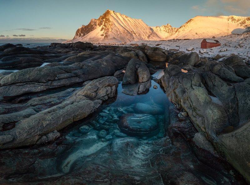 mountains,winter,lofoten,norway,norwegian,scandinavia,golden hour,shore,shoreline,sea,coast,coastline,coastal,panoramic,landscape,panorama, Blue eyephoto preview