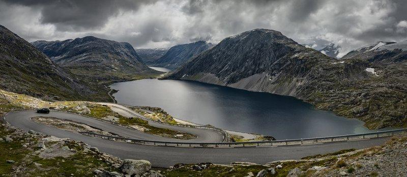 горы, озеро, дорога дорожная петляphoto preview