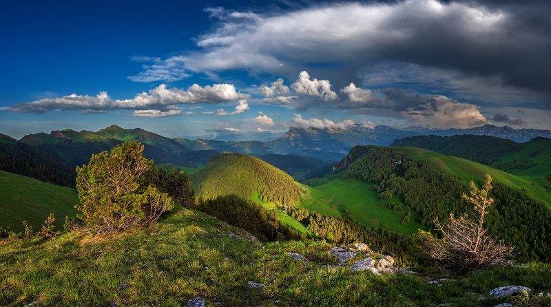 закат, большой тхач, малый тхач, асбестная, горы, пейзаж, рассвет, кавказ, адыгея, ачешбоки Просторы Кавказаphoto preview