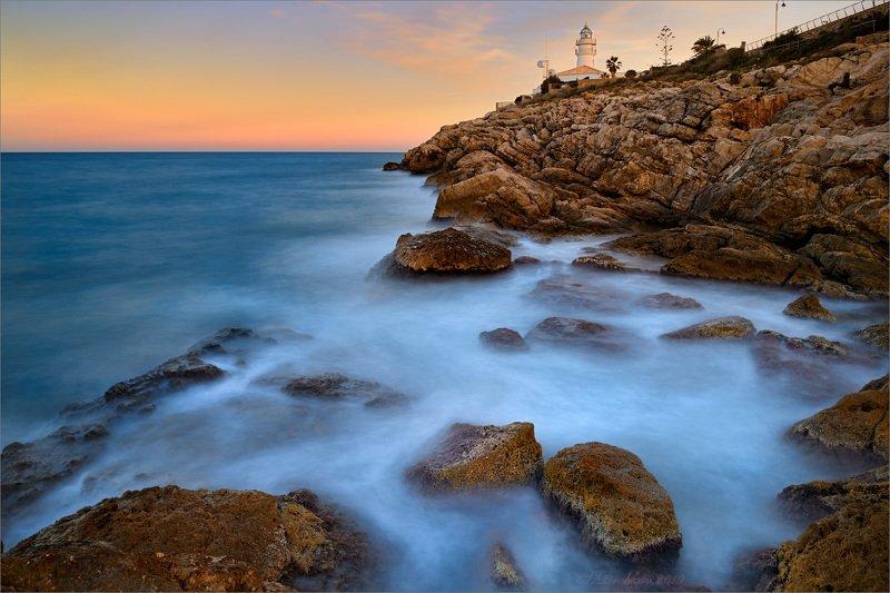 закат, скалы, море, пейзаж, длинная экспозиция, небо Lighthouse dreamsphoto preview