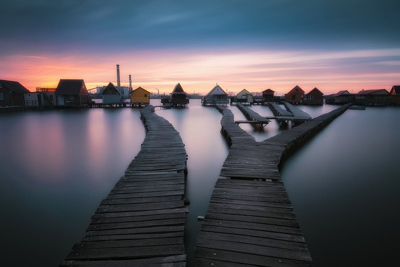 hungary, bokod, landscape, village, lake, floating, sunset, longexposure, nikond90, ndfilter Floating Villagephoto preview