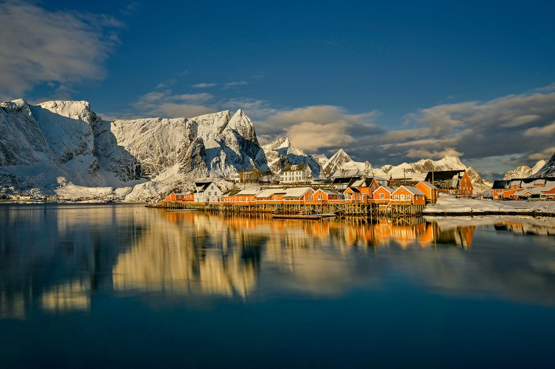 norway, lofoten, fjord, sea, winter, snow, mountain In the morning sunphoto preview