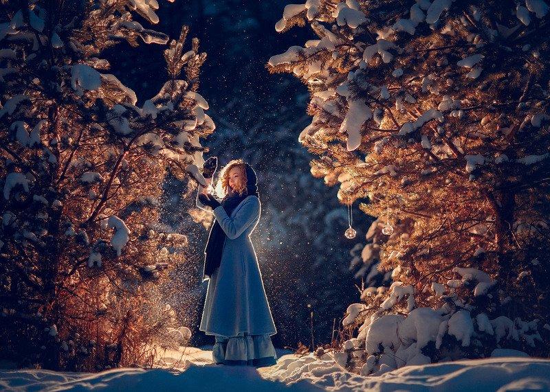 вечерняя фотография, фотосессия на природе, девушка, зима photo preview