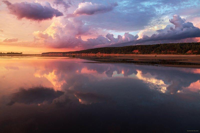 закат, река, отражение, северная двина, лето, небо, облака Зеркальная гладь рекиphoto preview