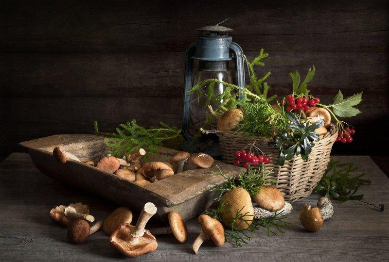 натюрморт, грибы, опята, корзинка, корытце, ягоды, лампа Опятаphoto preview