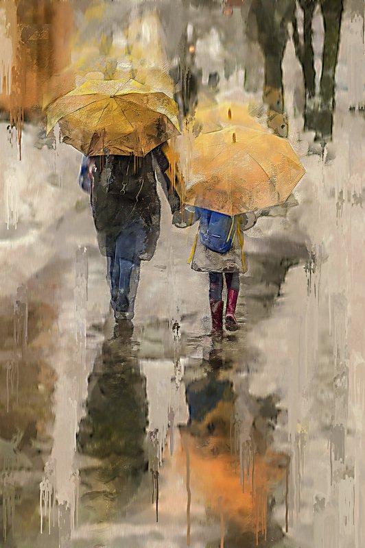 стилизация, картина, город, импрессио, весна, Два зонтаphoto preview