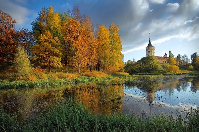 пейзаж,осень,озеро,архитектура,замок,парк Осенний пейзаж.photo preview