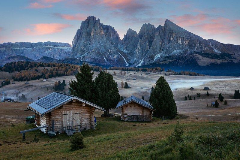 италия, доломиты, горы, рассвет, плато, альпийские луга, осень Рассвет на Альп Ди Сьюзиphoto preview