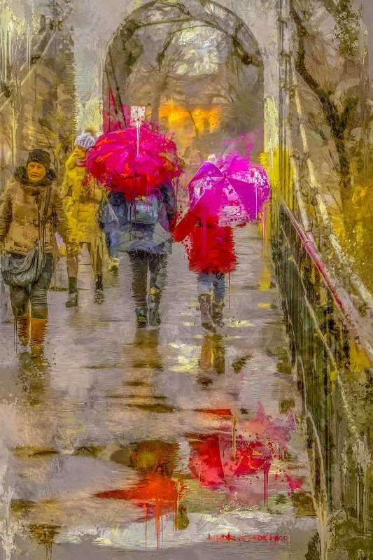 стилизация, картина, город, импрессио, весна, Два зонта_2photo preview