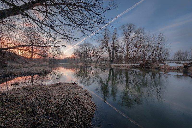 истра, река, пейзаж, половодье, разлив, весна, март, пейзаж Перед половодьемphoto preview