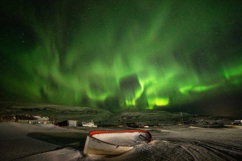 северное сияние, ночь, териберка, aurora borealis Цветомузыка по-териберски.photo preview