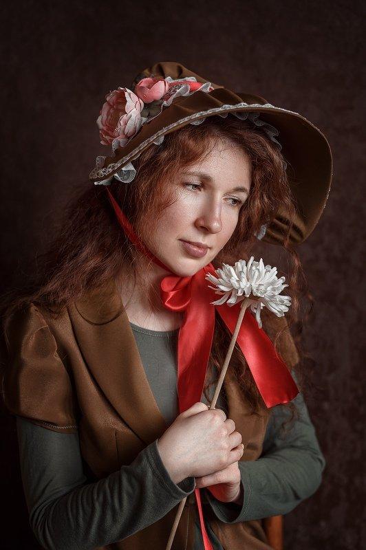 портрет, рыжая, рыжие волосы, девушка Цветочницаphoto preview