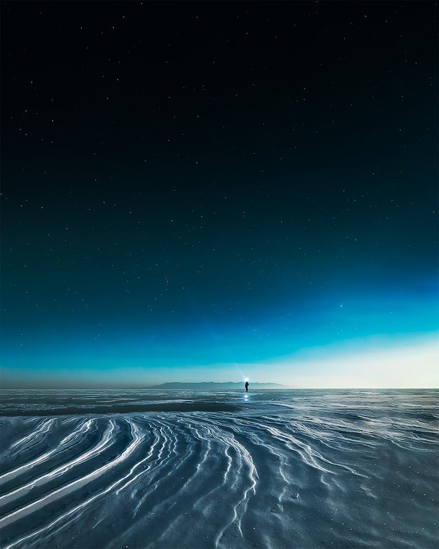байкал, ночное фото, астрофото, сибирь, бурятия, россия, пейзажи бурятии, зимний байкал, russia, buryatia, siberia, baikal, nightphotography, astrophoto, astrophotography, winter baikal,frozen lake, ice, man with light, naturelover, naturephotography, lan Alone in the Deep.photo preview