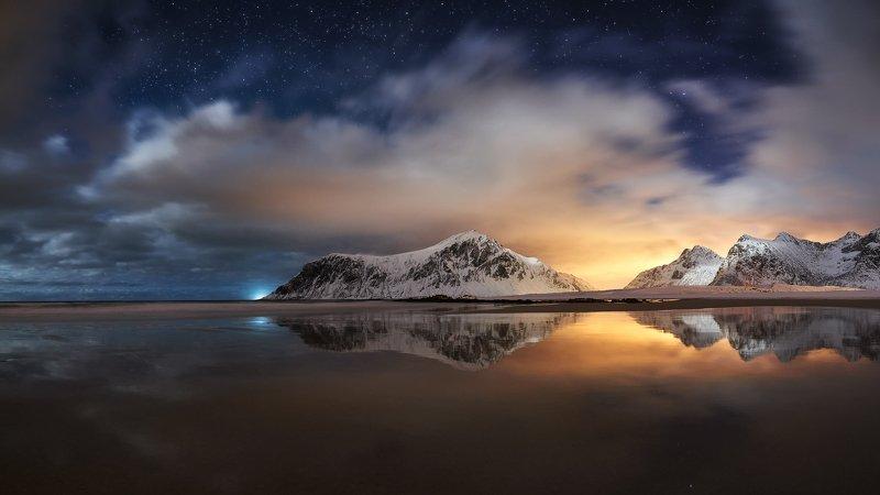night, star, mysty, lofoten, skagsanden, moonlight, light, beach, seascape, mountains,  sea photo preview
