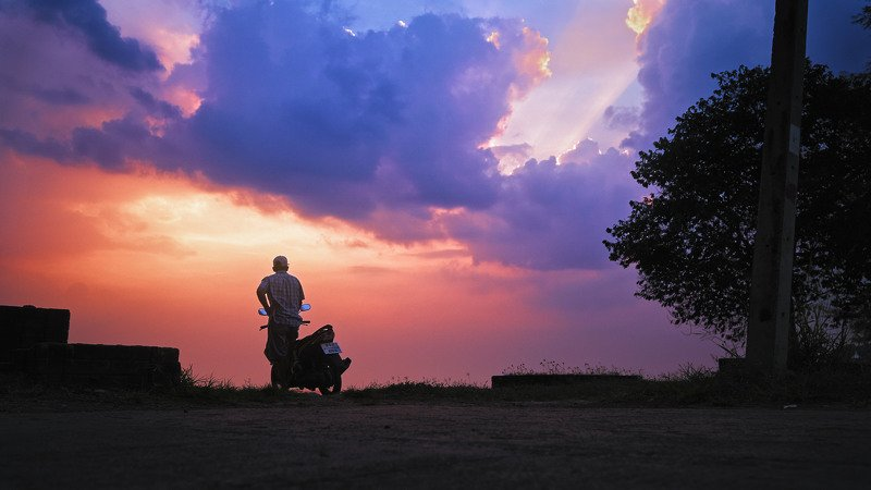 bike, man, male, motorbike, clouds, sky, sun, tree, thai, thailand, asia, cinematic, colorgrade, colorgrading, filmlook Motorguy at the morningphoto preview