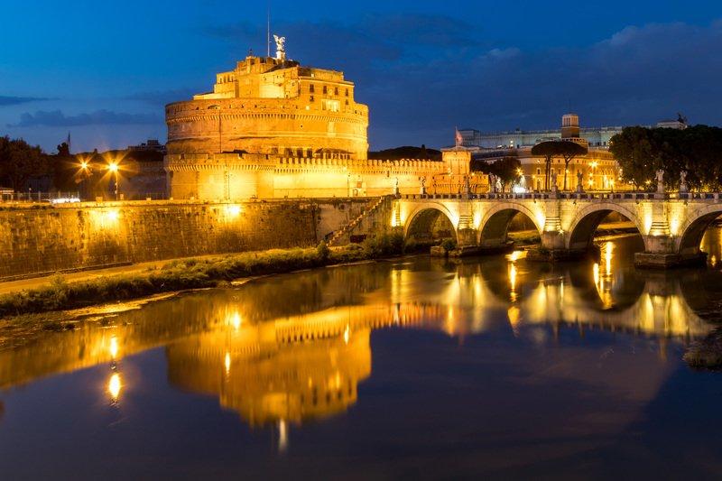 reflection, water, river, blue, castle, bridge, architecture, Rome, Italy Castle San Angelophoto preview