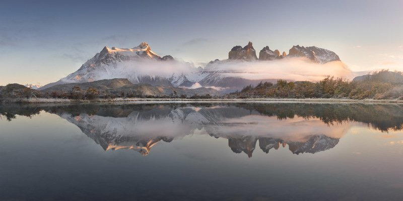 america, andes, beautiful, blue, chile, clouds, cuernos, del, frost, glacier, hiking, hill, ice, lake, landmark, landscape, light, mirror, morning, mountain, national, nature, outdoor, paine, pano, panorama, panoramic, park, patagonia, peak, pehoe, range, That Which is Above is from That Which is Belowphoto preview