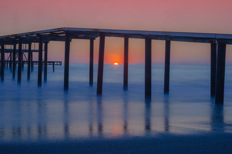 море, солнце, закат В \