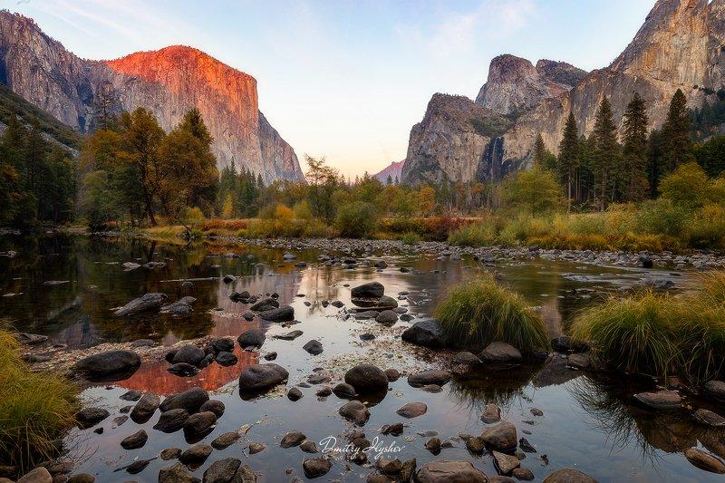 пейзаж, закат, природа, лес, Калифорния, Йосемити,отражения, национальный парк, приключения, путешествие, фототур, Илышев, США, осень, горы, скала Эль Кэпphoto preview