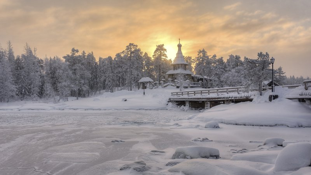 зима, мост, остров, часовня photo preview