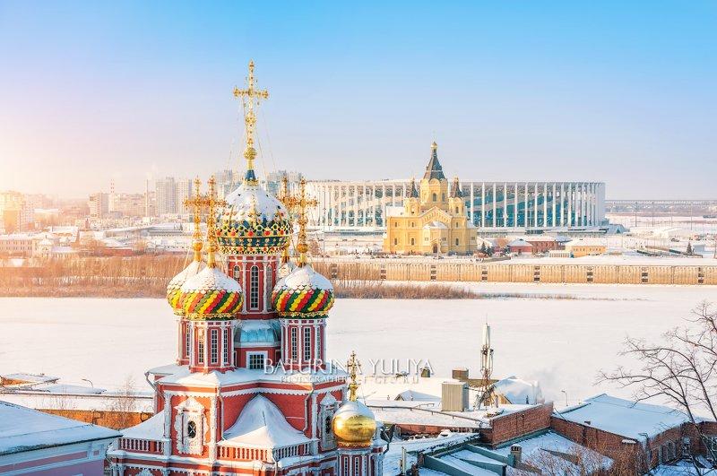 нижний новгород, рождественская церковь Разноцветные куполаphoto preview