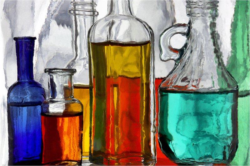 стекло, бутылка, бутылки, натюрморт, Б/Н.photo preview