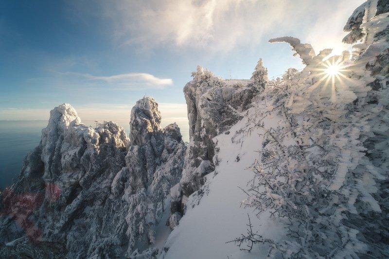 россия, крым, полуостров, пейзаж, природа, черное море, зима, снег, лес, заход солнца, закат, сугроб, ай-петри Зимний Крымphoto preview