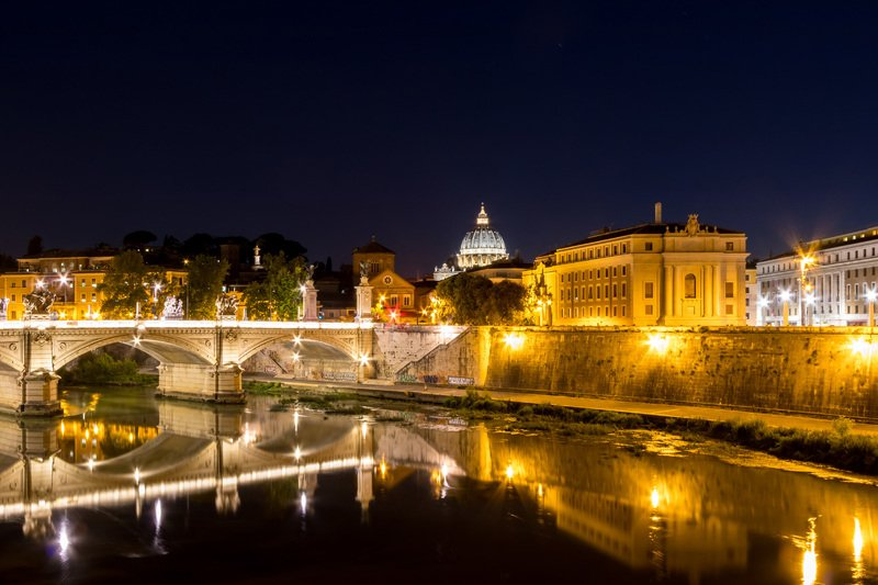 Rome, Italy, reflection, night photography, architecture, bridge night Romephoto preview