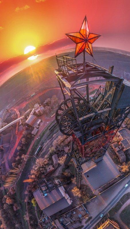 панорама, квадрокоптер, карьеры, пейзаж, промышленный пейзаж, шахты, закат, город,аэрофотосъемка Eufel-Industrialphoto preview