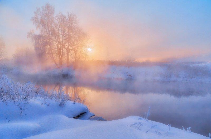 утро, зима, туман, солнце, рассвет, река Зимнее утроphoto preview