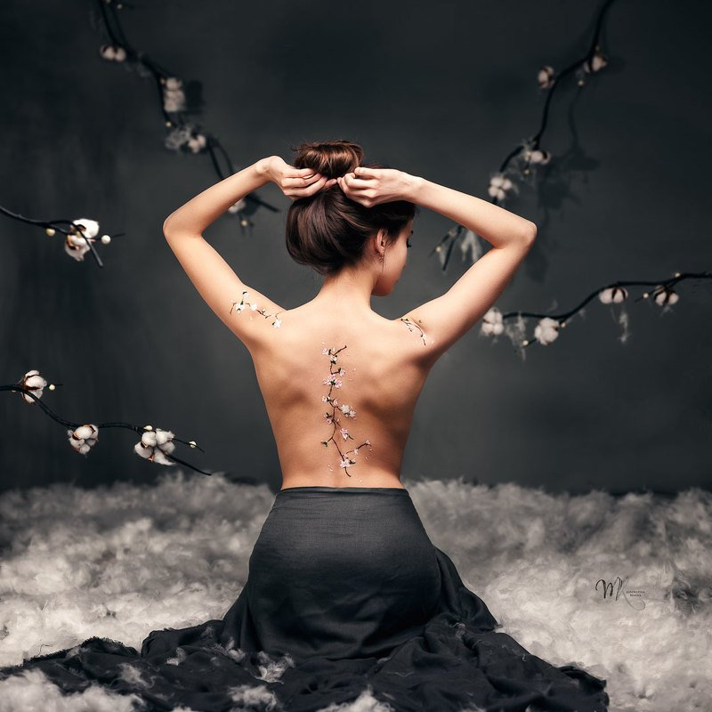 девушка, красота, женственность, постановка, сакура, восточные мотивы Девушка с сакуройphoto preview