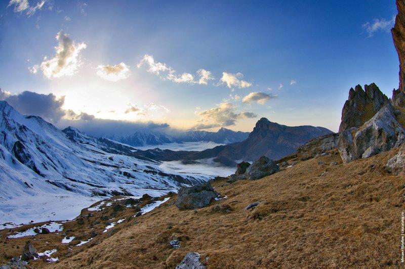 горы, кавказ, закат Закат в горах Балкарииphoto preview
