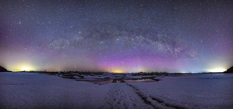 звезды, млечный путь, ночь, астрофото, река, северное сияние река Чусоваяphoto preview