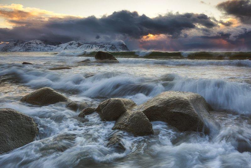 lofoten, vikten, mountains, seascape, landscape, norway, beach Viktenphoto preview