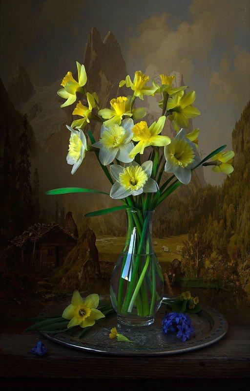 цветочный натюрморт с нарциссами,букет,весна,художественное фото,искусство. photo preview