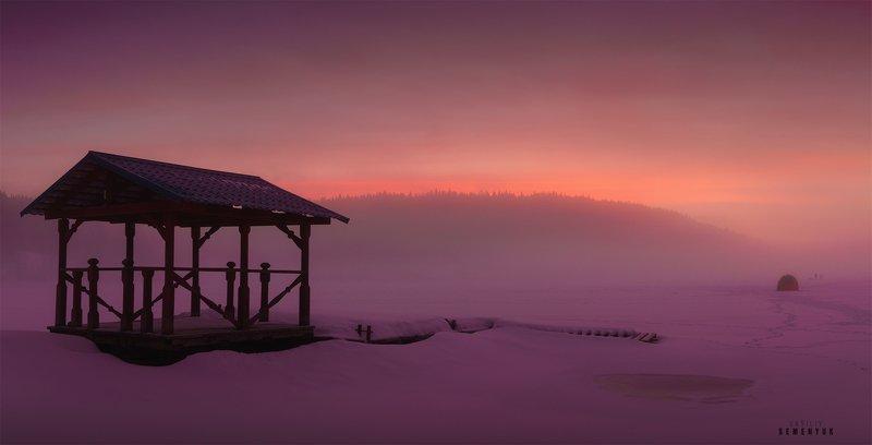 ладога, зима, туман, рассвет, острова, шхеры, лес, туман, минимализм, снег, ladoga, lake, winter, fog, ice, snow, sunrise, minimalism. Морозный рассвет на Ладоге.photo preview