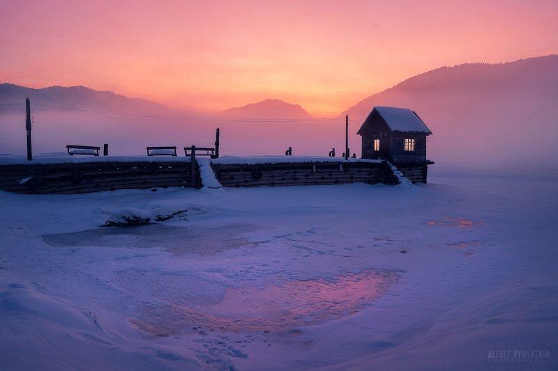 алтай, россия, телецкое озеро, рассвет, причал, altay, sunrise, landscape, russia, cold, winter, snow Сны Артыбашаphoto preview